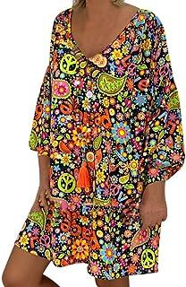 Robe Longue Femme,Honestyi Ete Jupe /à Bretelles Dress /à Pois Robe Vacances Casual Jupon de Plage Jupe Boh/ême Poche Robe sans Manches Dress Col V Robe de F/ête