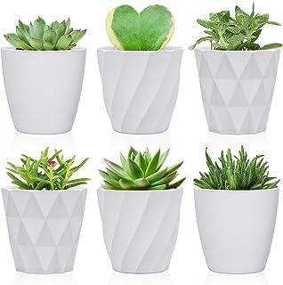 Succulent Pots, 3.25 inch Small Plastic Plant Pots, Indoor Modern Flower Pots with Drainage Holes, Mini Planter Pots for S...