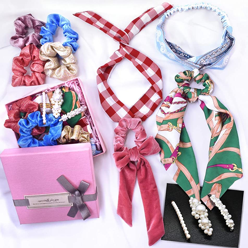 11PCS Scrunchies for Hair Velvet Satin Silk Cotton Cute Bow Scarf Accessories Hair Ties Headbands Hair Clips Birthday Gifts for Teen Girls Women with Gift Box