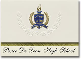 Signature Announcements Ponce De Leon High School (Ponce De Leon, FL) Graduation Announcements, Presidential style, Elite package of 25 with Gold & Blue Metallic Foil seal