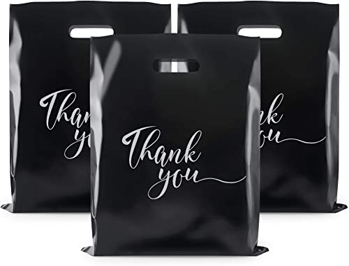 Rainbows & Lilies 100 Thank You Merchandise Bags 12x15, Die Cut Handles, Retail Shopping Bags for Boutique, Goodie Ba...