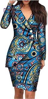RkBaoye Women's Dashiki Elegent Blazer African Printed Premium Back Cotton Dress