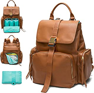 Diaper Bag Backpack Mominside, Leather Backpack for Women, Travel Backpack Baby Bag with 15 Pockets, Changing Pad, Large Capacity for Wet Clothes, Breast Pump, Milk Bottle (Brown)
