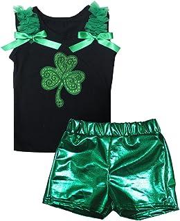 Petitebella Girls' Sequins Clover Black Shirt Bling Short Set