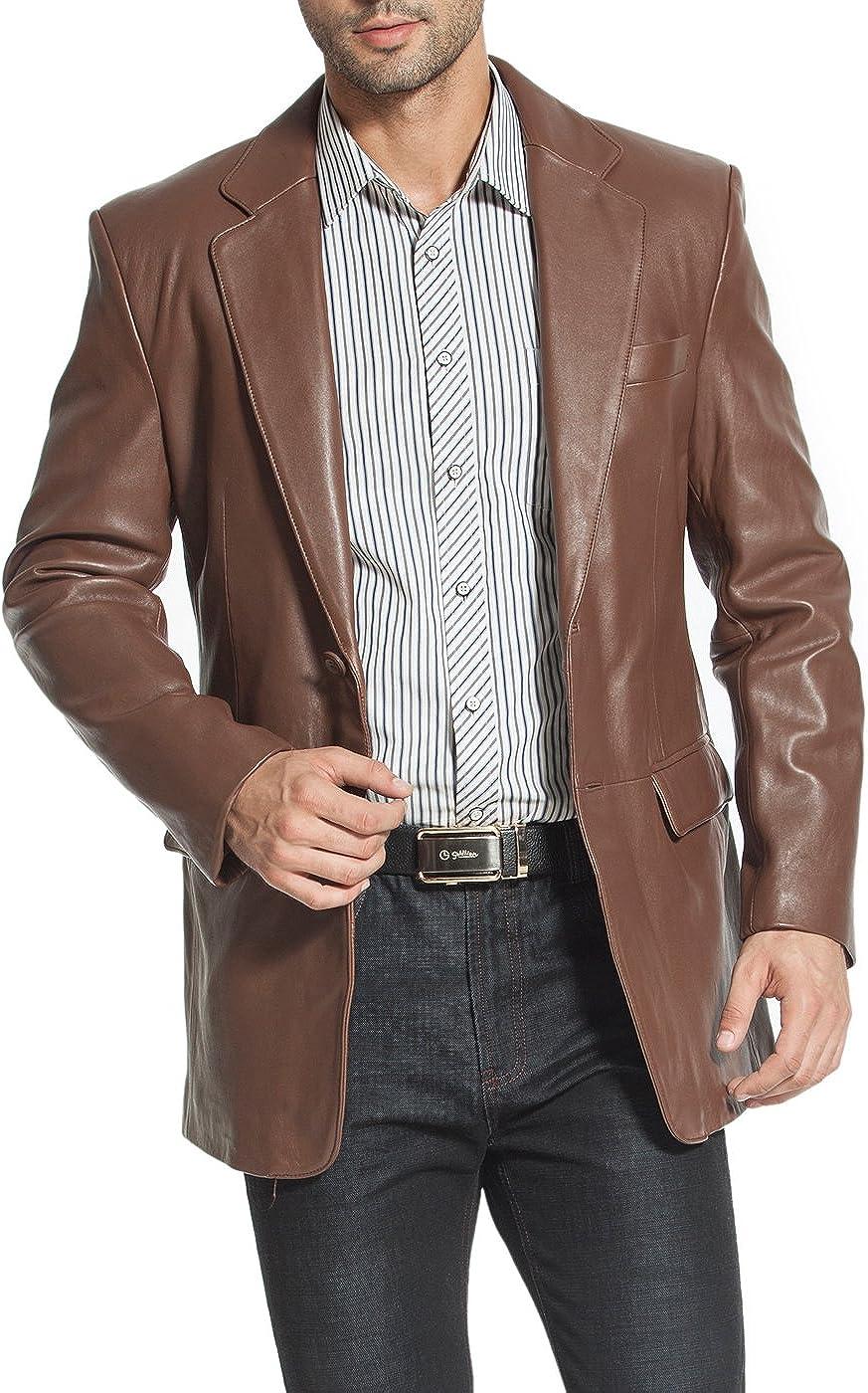 BGSD Men's Steven Classic 2-Button Leather Blazer Lambskin Sport Coat Jacket Hazelnut XX-Large Tall