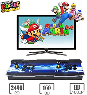 Pandora Treasure 3D Arcade Game Console, 2650 Retro HD Games, Search Games, Add More Games, 1920x1080 Full HD, Support Multiplayer Online, 2 Player Game Controls, HDMI/VGA/USB/AUX Audio Output