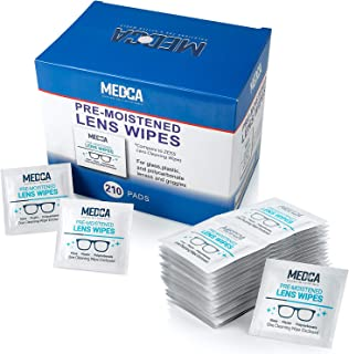Lens Cleaning Wipes - [210 Pack] Pre Moistened Cleansing Cloths and Individually Wrapped Eyeglass Cleaner Wipe Pads for Ph...