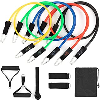 Resistance Bands Set for Men/Women (11Pcs), Exercise Bands Stackable up to 150lbs with Door Anchor, Handles, Legs Ankle St...