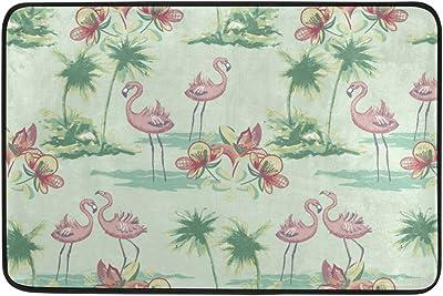 MASSIKOA Flamingo Floral Non Slip Backing Entrance Doormat Floor Mat Rug Indoor Outdoor Front Door Bathroom Mats, 23.6 x 15.7 inches