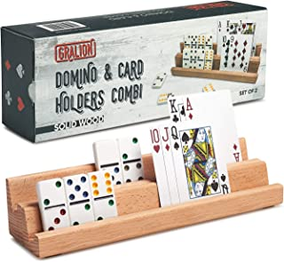 GRALION Domino & Card Holders Combi Set of 2 Wooden Trays/Racks for Cards and Dominoes, Playing Card Holder, Deluxe Design, Wonderful Playing Accessories for Mexican Train and Many Board Games!