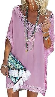 Copricostume Donna Mare Costume da Bagno Abito da Spiaggia Tinta Unita Copricostumi da Bagno Cava Bikini Cover Up T-Shirt Lunga Vestiti Camicia Donna Midi Abito Spiaggia,M-5XL