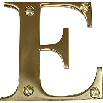 RCH Hardware 2350E-PB075 Solid 3 Tall House Letter E Polished Brass Shiny Gold Matching Screws Included 3 Inch