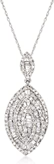 Ross-Simons 0.89 ct. t.w. Baguette and Round Diamond Marquise Pendant Necklace in 14kt White Gold