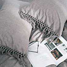 Gray Pillow Covers Cases Shams Grey Linen Cotton Slips with Tassels Boho Queen Size 20x30 Inch 2 Pieces Solid