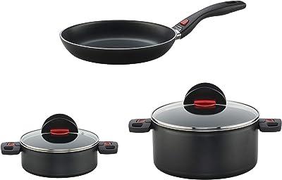 BALLARINI Click & Cook Nonstick Cookware Set, 5-pc, Black