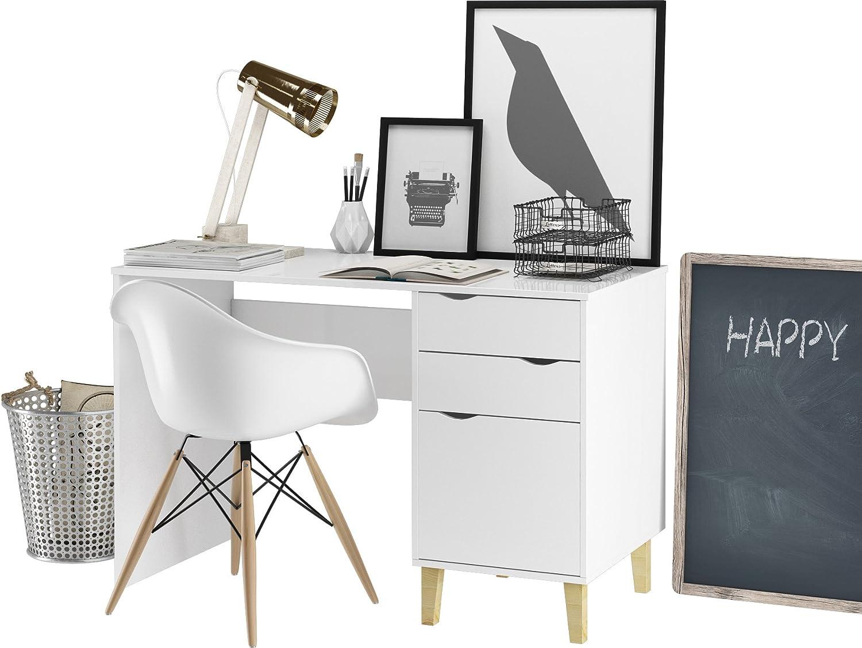 Loft24 Candy Schreibtisch wei Bürotisch Computertisch Arbeitstisch PC Tisch Skandinavisches Design, 2 Schubladen, 120x76 cm
