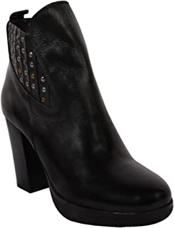 Salt N Pepper Petra Black Real Leather Slip ON Womens Boots