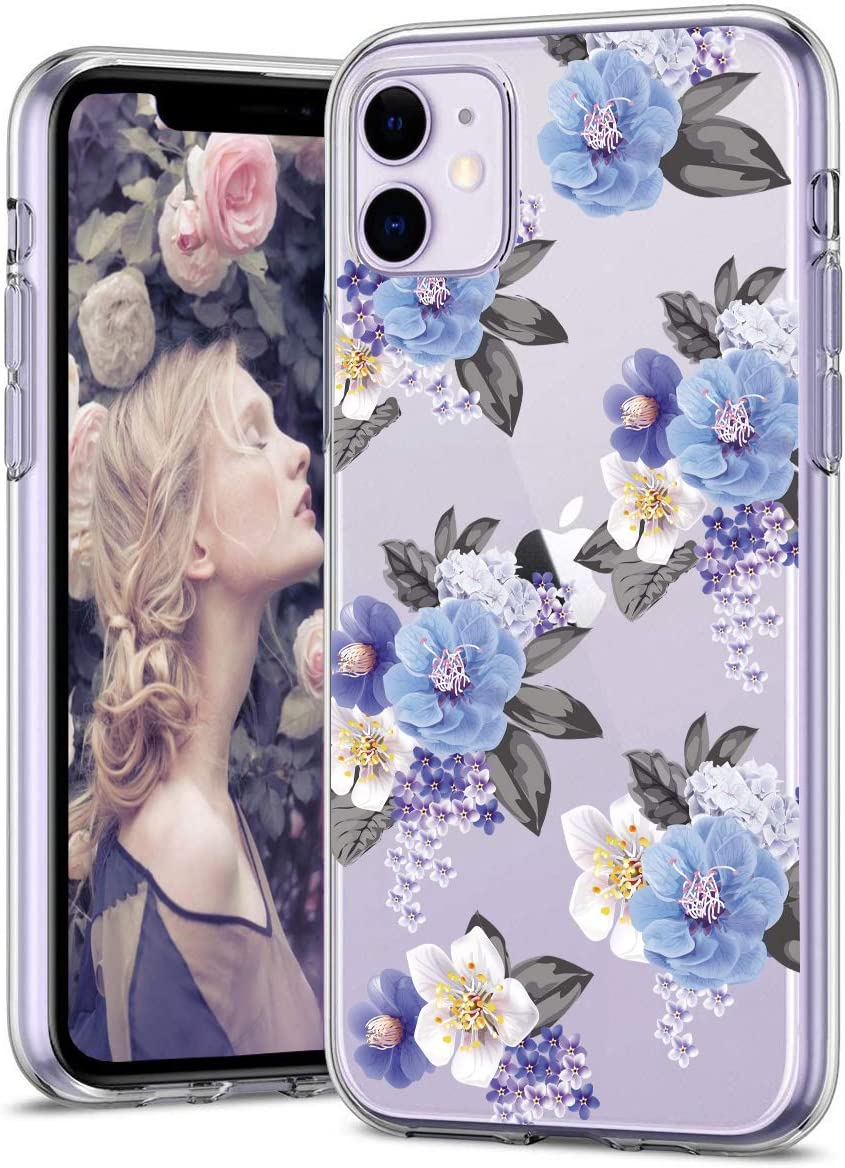 Zenhole Case for iPhone 11 Case 6.1 inches Floral Pattern Clear Design Transparent Hard Back Soft TPU Bumper Slim Protective Case Cover Compatible with iPhone 11 6.1 inches - Blue Flower