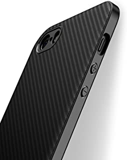 J Jecent Funda iPhone 5/5S/SE [Textura Fibra Carbono] Carcasa Ligera Silicona Suave TPU Gel Case de Protección Antideslizante [Anti-Rasguño] [Anti-Golpes] Cover per iPhone 5/5S/SE - Negro