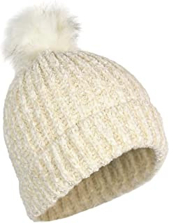 Elliott and Oliver Co. Urban Winter Ultra Soft Chenille Warm Velvet Chunky Knit Stretch Cuff Beanie Hat Faux Fur Pom