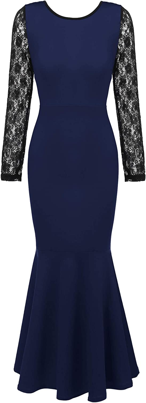 ANGVNS Women's Elegant Long Sleeve Lace Evening Fishtail Maxi Cocktail Dress