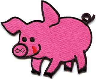 Pig Sow Hog Swine Boar Livestock Farm Animal Applique Iron-on Patch New S-688 Handmade Design From Thailand
