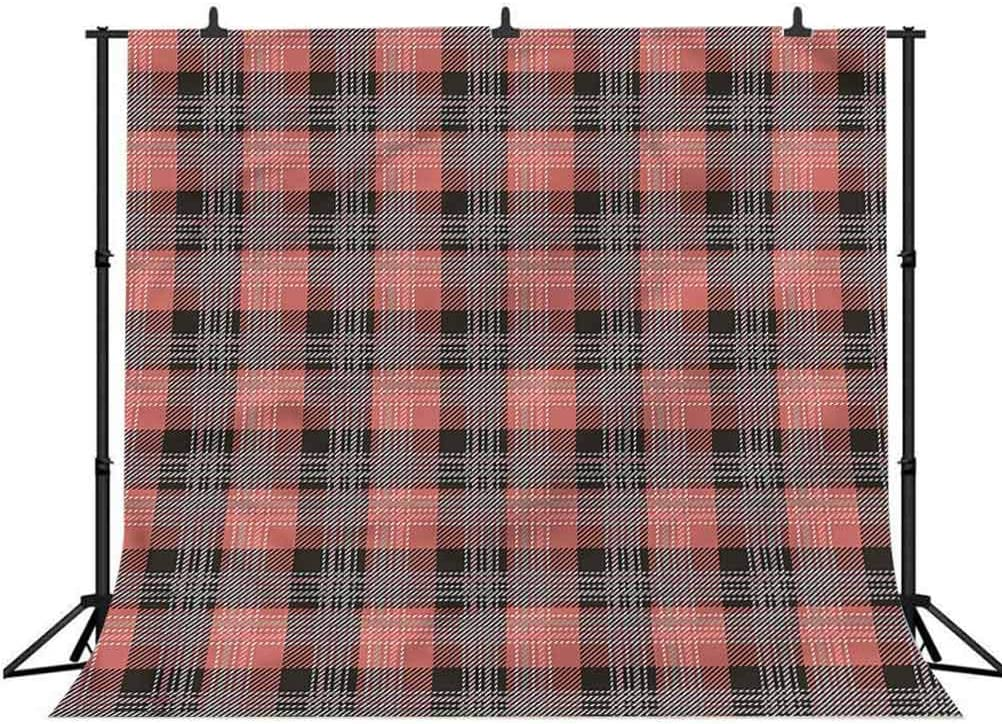 10x10FT Vinyl Photography Backdrop,Plaid,Bicolor Checkered Retro Photo Background for Photo Booth Studio Props