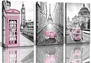 Eiffel Tower Decor for Bedroom for Girls Paris Decor Pink Paris Theme Room Decor Wall Art Canvas Black and White Art Eiffel Tower Picture Decorations London Big Ben Tower Eiffel Tower Painting Framed