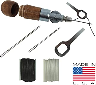 Stitch Repair Tool | Sewing Awl for Bounce Houses, Inflatables, Tarps, Leather, Thick Fabric, Shoes, Bags, Belt, Upholstery Repair Kit & Crafts Leather Stitching - MADE IN USA – PROFESSIONAL HEAVY DUT
