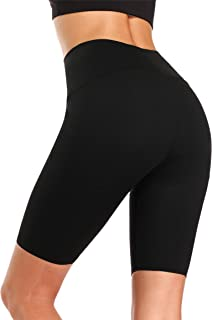 WOWENY Women's High Waisted Yoga Shorts Workout Tummy Control Bike Shorts Running Exercise Spandex Short