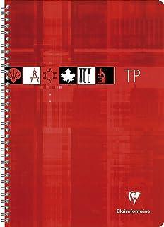 Clairefontaine 8907C - Un cahier à spirale de travaux pratiques 80 pages 17x22 cm grands carreaux 90 g et unies blanches 1...