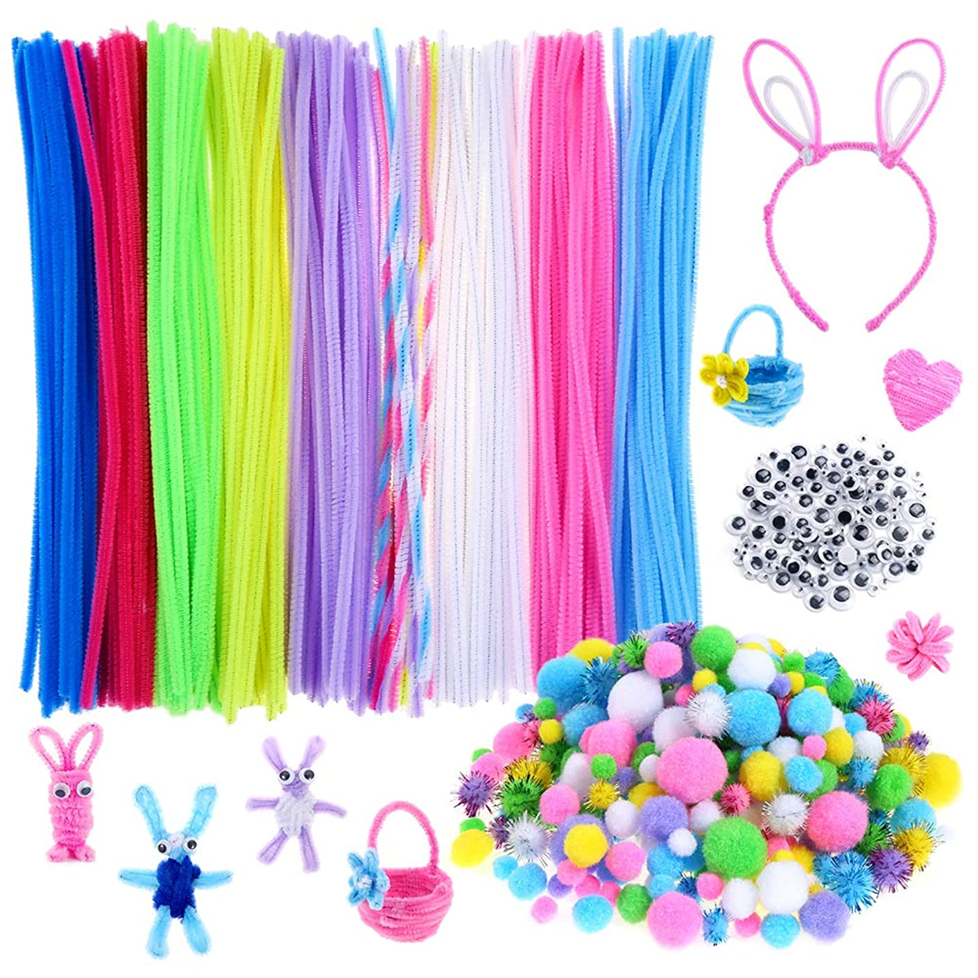 Caydo 700 Pieces Easter Egg Pipe Cleaners Sets, Including 200 Pieces Pipe Cleaners, Assorted Pompoms and Glitter Pompoms for Easter Day Crafts Decorations