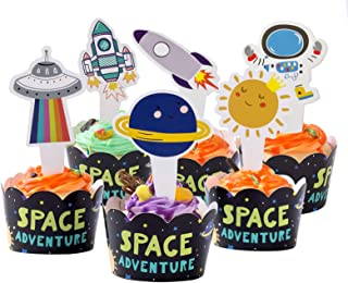 24 Pieces Outer Space Cupcake Toppers Cupcake Wrappers Kit Fits Space Themed Party Supplies Party Decorations