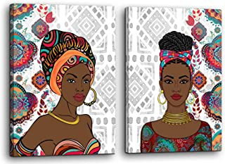 """African American Canvas Wall Art for Bedroom Modern Wall Decor Female People Woman Themed Wall Decoration Large Size canvas prints Framed Picture Artwork for Walls Living Room Home Decor 24""""x36"""" Each"""