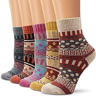 REYOK, 5 Pares Calcetines Termicos de Mujer, Calcetines Invierno de Lana Frio Extremo, Calcetines Colores Cálidos de Confort Casual, Talla única 35-41