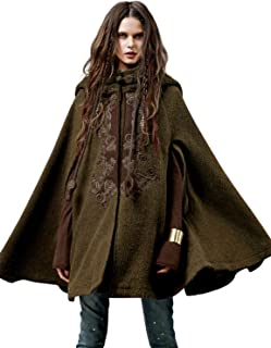 Artka Women's Hooded Wool Blend Cape Coat with Vintage Embroidery