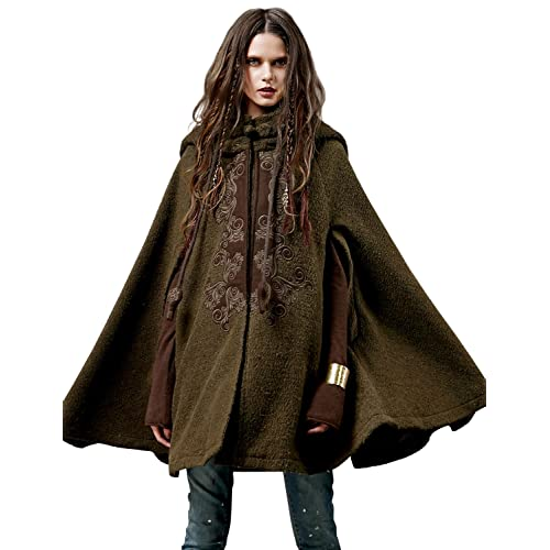 4fb31bb8b Artka Women's Hoodie Embroidery Turn-Down Collar Woolen Cape One Size
