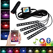 GTP Car LED Strip Light 4pcs 36 Multicolor LED Interior Under Dash Floor Seats Accent Atmosphere Lighting Kit Bluetooth App Control Sound Active Function for iPhone Android Smart Phone