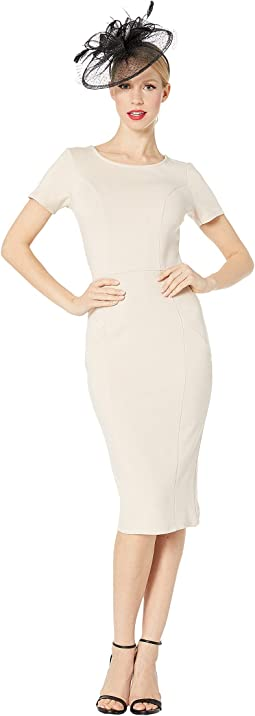 d75426f03c2 1960s Short Sleeve Stretch Mod Wiggle Dress