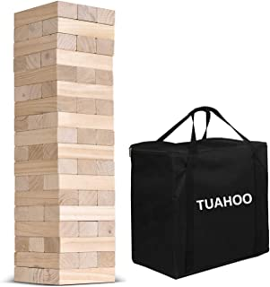 TUAHOO Jumbo Toppling Tower Giant Tumble Tower Games Tumbling Timber Wooden Blocks Stacking Game for Adult, Kids, Family Outdoor Yard Games