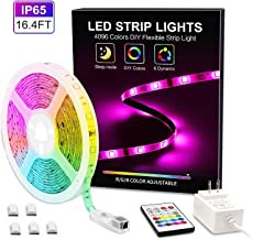 MYPLUS Waterproof LED Light Strips, 16.4ft Strip Lights with Remote Color Changing, Safety 12V Power Supply SMD 5050 RGB Tape Light for Room, Home, Bar, Cabinet Decor