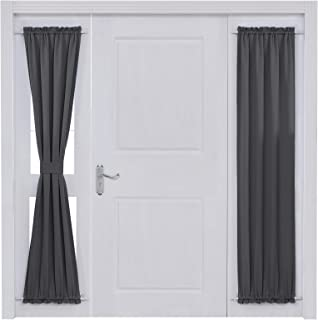 Deconovo Rod Pocket Door Panel Curtain Thermal Insulated Curtains for Living Room Length 25 Inch Width 72 Inch Dark Grey 1 Panel