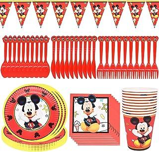 Mickey Party Supplies 71 pcs Mickey Mouse Vaisselle de Fête Anniversaire Fournitures de Fête d'anniversaire Assiettes de V...