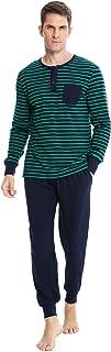 Ireval Pijama Hombre Verano Cortos de Algodón,Cómodo Manga Corta Camiseta y Enrejado Pantalón Ropa de Dormir 2 Piezas