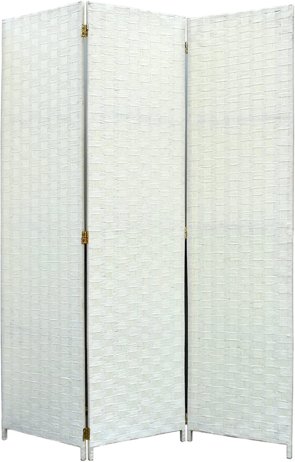 Legacy Decor Room Divider 3 Panel Weave Design Fiber Ivory color