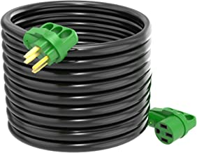 RVGUARD 50 Amp 50 Feet RV/EV Power Extension Cord, Heavy Duty STW Wire with LED Power Indicator and Cord Organizer, 14-50P/R Standard Plug, Green, ETL Listed