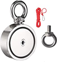 """BOOMCOOL Double-Sided Fishing Magnets with Rope, Round Neodymium Magnet with Eyebolt, Combined 1700LBS Pulling Force, 3.7"""" Diameter - Magnet for River or Lake Fishing"""