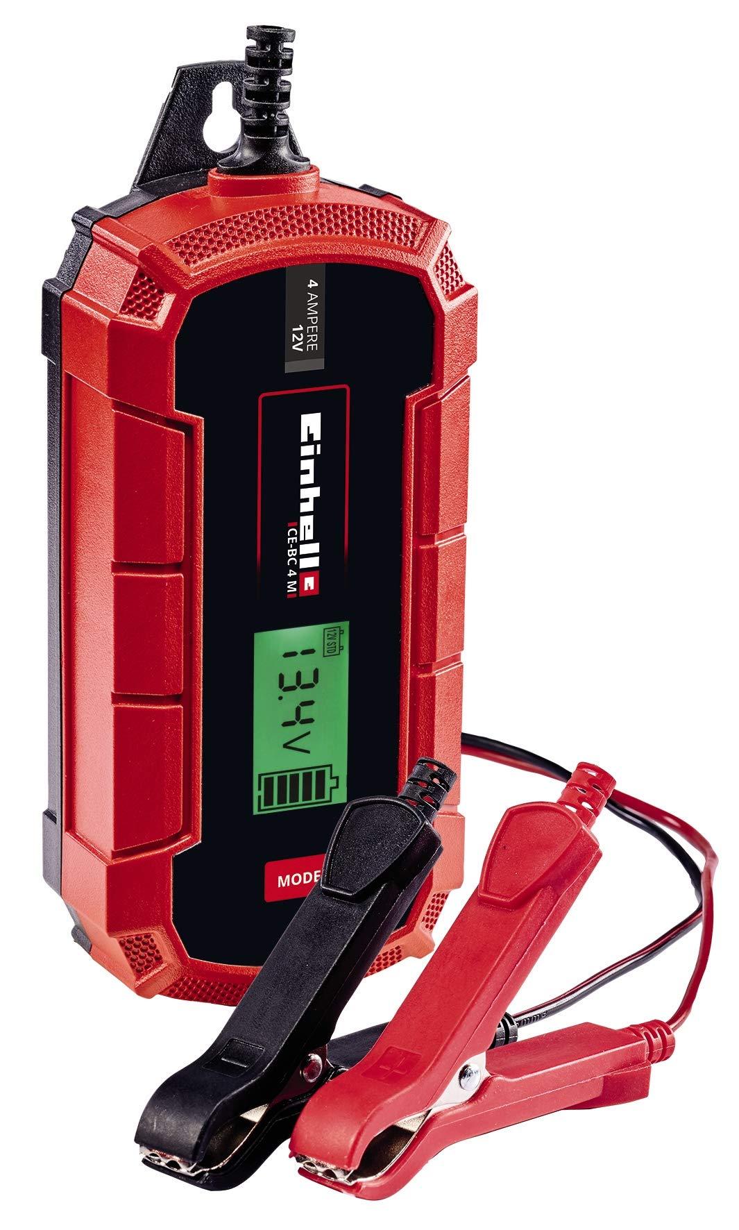 Einhell CE-BC 4 M, Cargador de baterías (con control por microprocesador para los más distintos tipos de baterías, entre otros automóviles/motos, corriente de carga máx. 4 amperio): Amazon.es: Bricolaje y herramientas