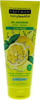 Freeman Oil Absorbing Clay Facial Mask, Pore Minimizing Beauty Face Mask with Mint and Lemon, 6 oz
