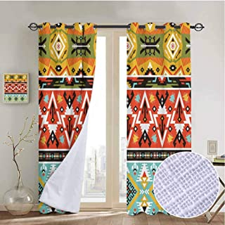 vanfanhome Love and Adventure Aztec Linen Blackout Curtains, Printing Curtains Microfiber 3 Layers High Density & Noise Reduction Fabric, Living Room Bedroom Window Drapes(2 Panels, 54x84 Inch)